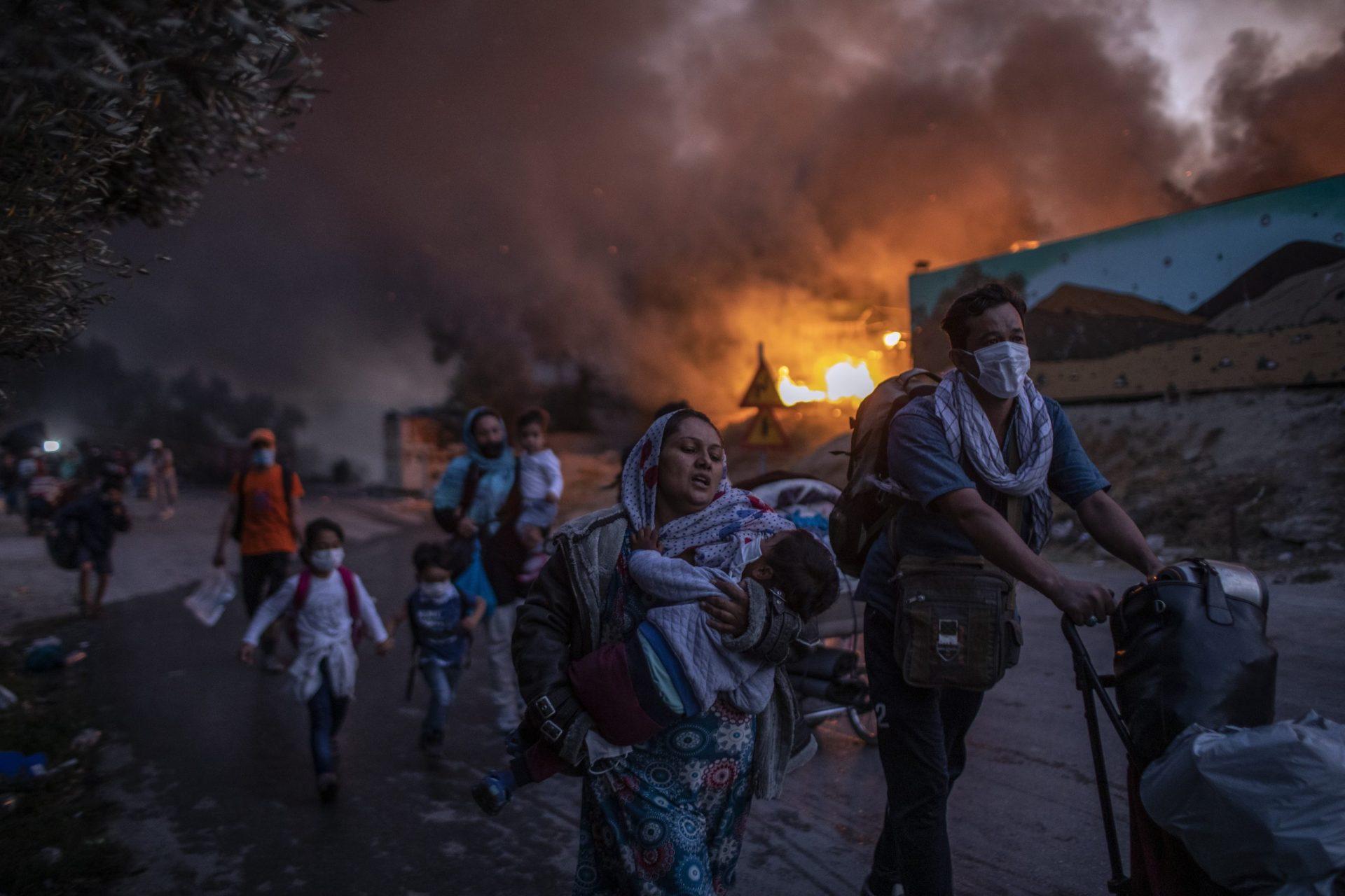 Moria Flüchtlingslager brennt