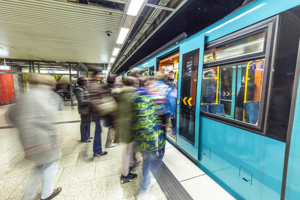 subway with people at station Merianplatz