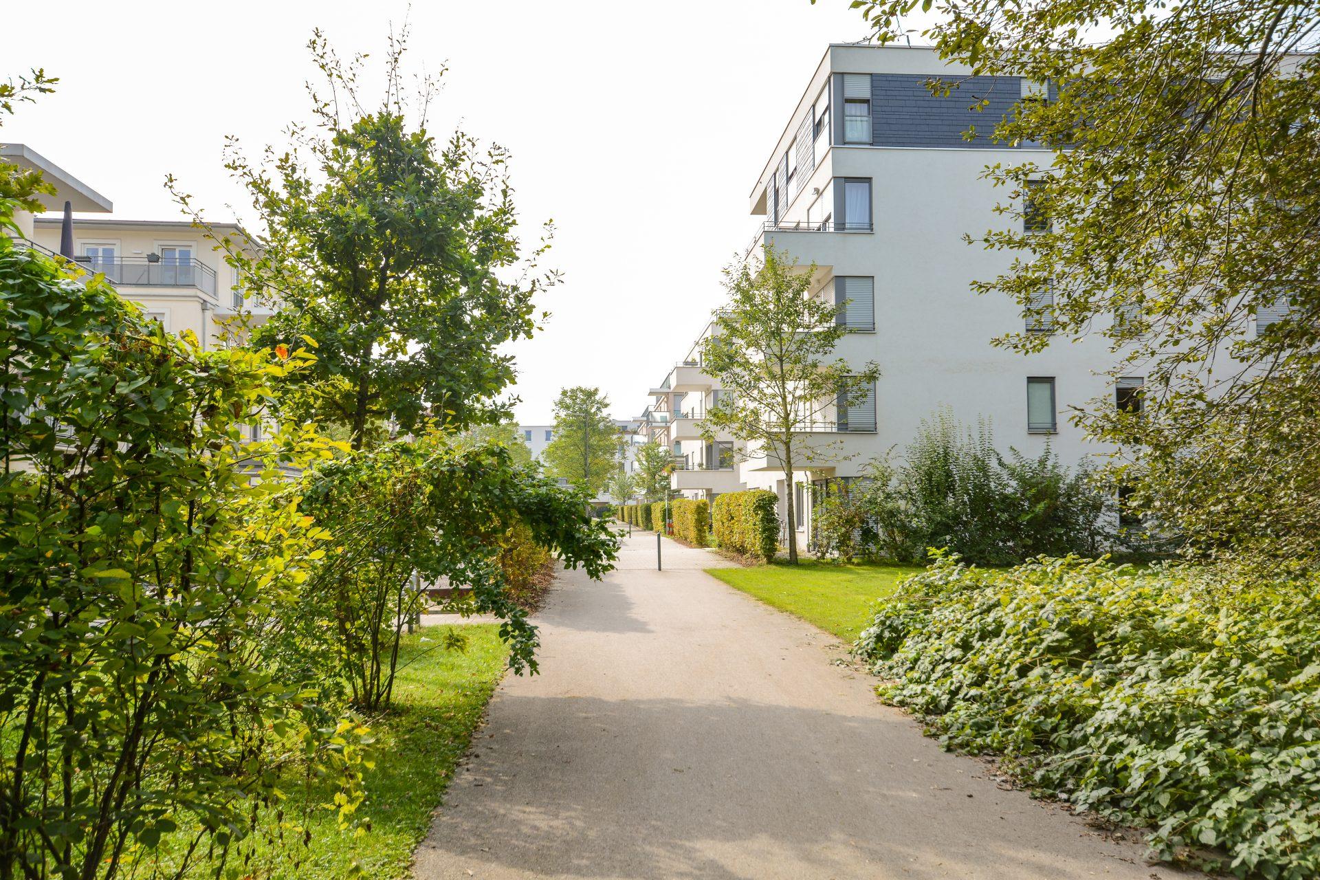 Wohnsiedlung mit vielen Bäumen
