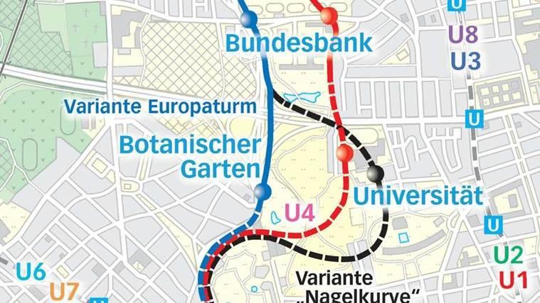 Stadtplan mit möglichen Anbindungen an die Universität Frankfurt