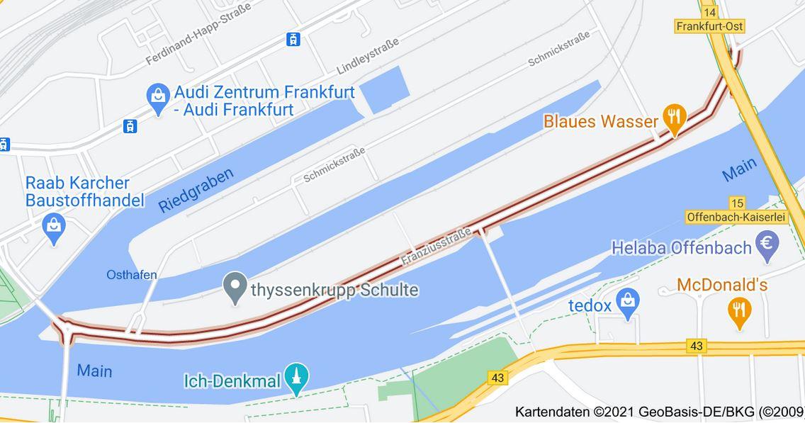 Franziusstraße Frankfurt am Main - Google Maps