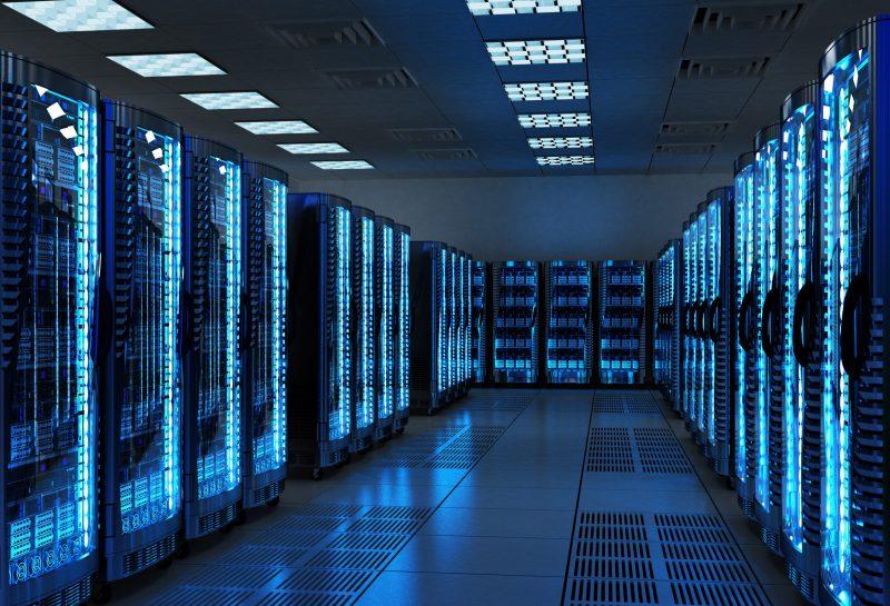 Server racks with telecommunication equipment in server room