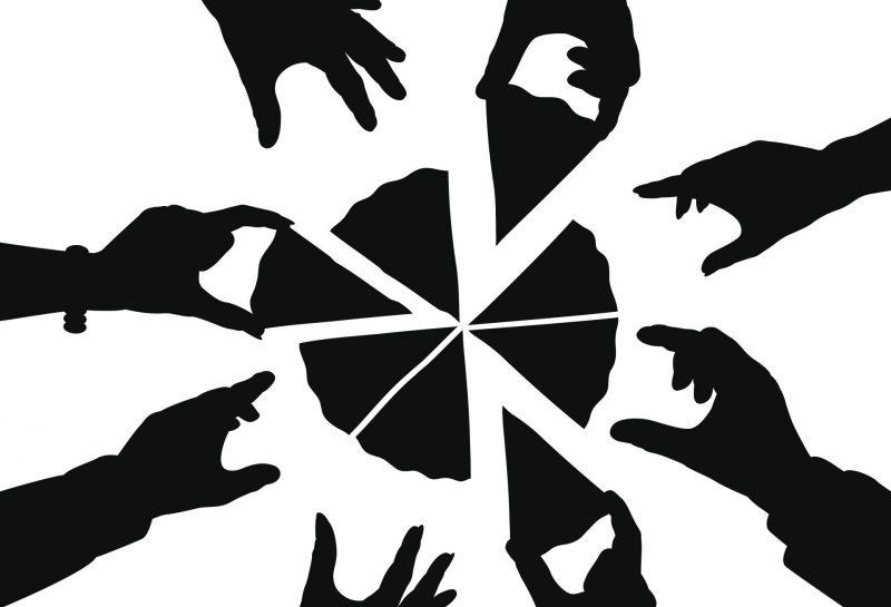 Grafik - Hände nehmen Stücke einer Pizza