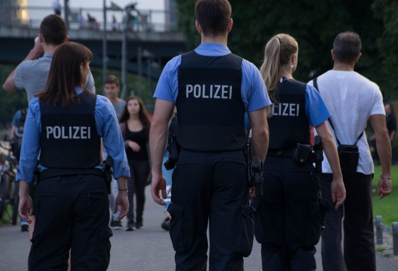 Frankfurt am Main, Germany – August 5, 2016: Police patrol in Frankfurt am Main, Germany.