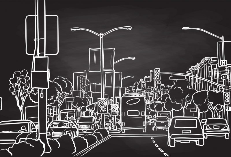 Kreidebild auf Tafel - Verkehr