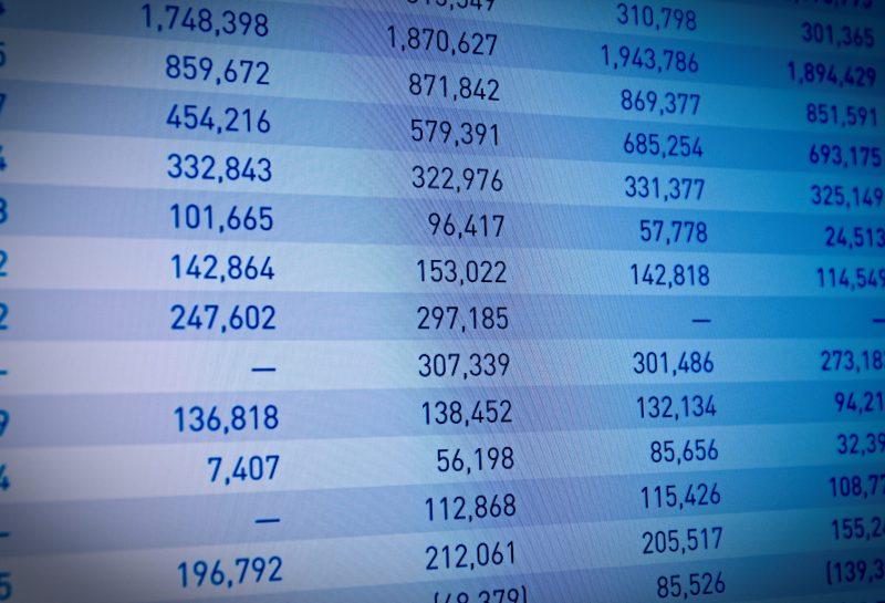 Unternehmen Einnahmen auf PC-Bildschirm