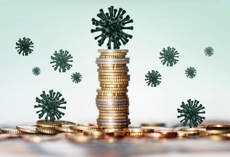 Geldmünzen und Corona-Virus